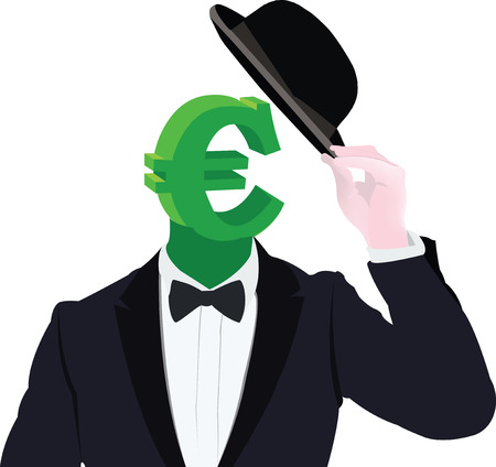 currency symbol disguised with hat ladies Illustration
