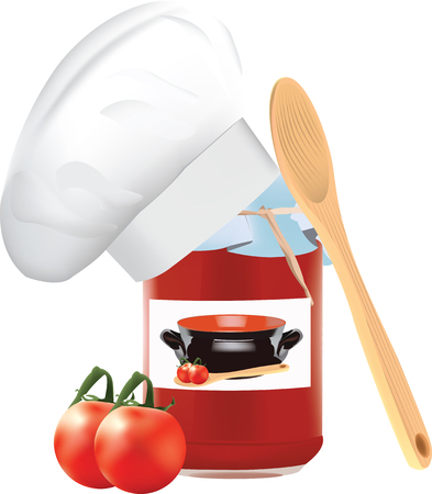 sterilized: glass jar containing sterilized tomato juice Illustration