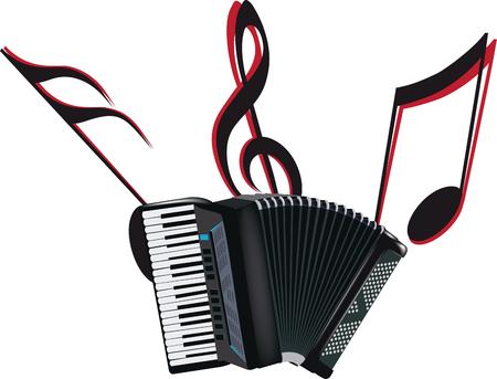nero respiro strumento fisarmonica musicale su sfondo bianco