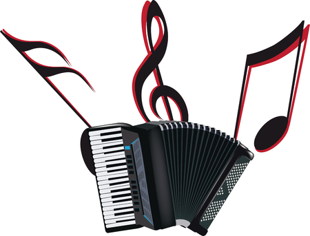 black breath accordion musical instrument on white background