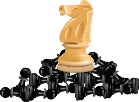 blacks: checkmate horse on blacks pedestrians