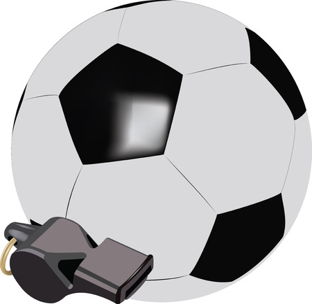 foul: accessories soccer ball and whistle