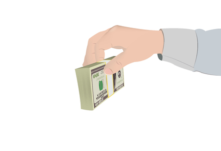 pay raise: human hand hands wad of dollars Illustration
