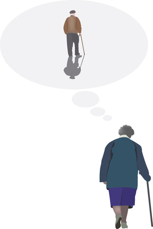 loved: Older people think of a loved one Illustration