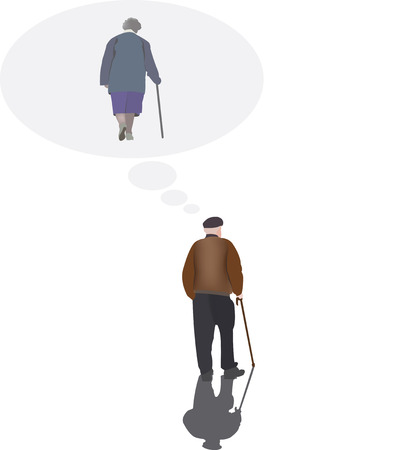 one people: Older people think of a loved one Illustration