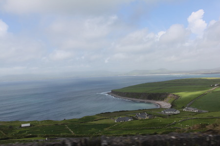 Irish landscape country houses and sea