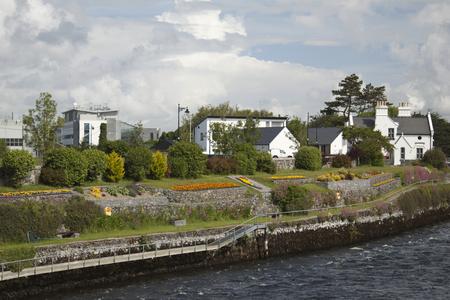 irish landscape: Irish landscape country houses and sea