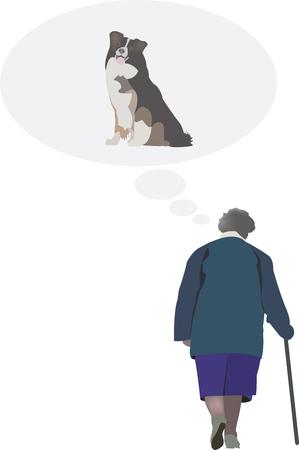 elderly person think his dog