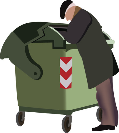 Poor elderly person in search of food Vektorové ilustrace