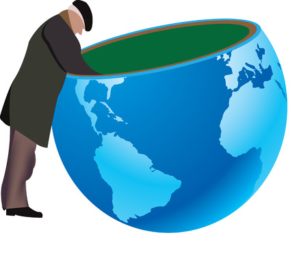 Search elderly person on earth Illustration