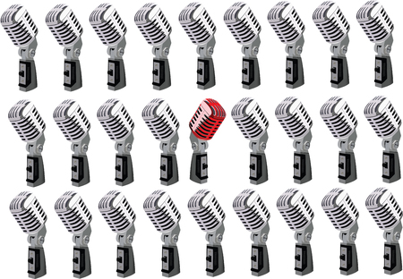 subversive: in red white microphones Illustration