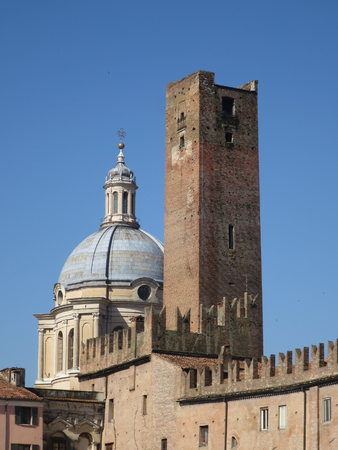 Dome of St. Andrew and tower of the cage Mantua