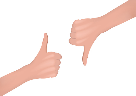 Hand with thumb up and down Illustration