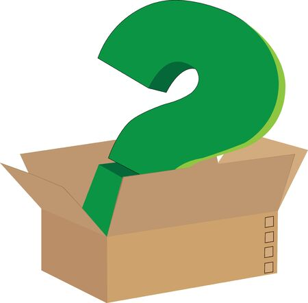A green colored question mark inside the cardboard box. Illustration