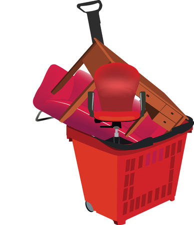 Shopping trolley with home furniture