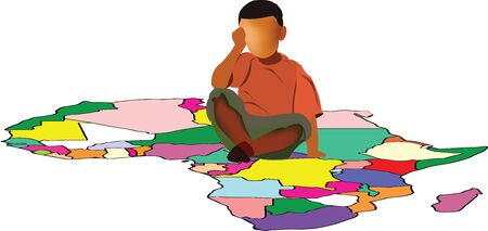 Color baby sitting on a map of africa Illustration