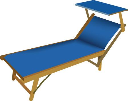 Beach deck chair in blue color