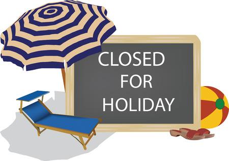휴일을위한 닫힌 글쓰기가있는 칠판