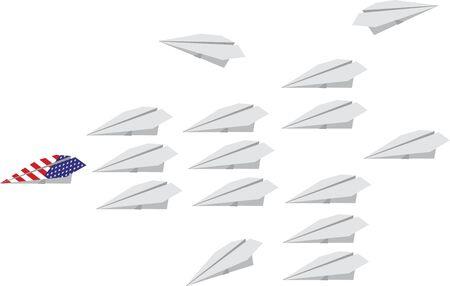 White aerial fleet and American plane