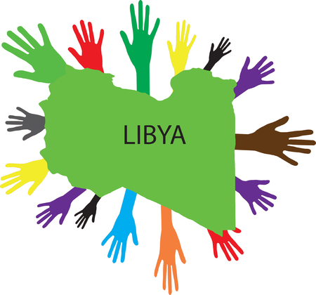 Hands of various colors and map of Libya Illustration