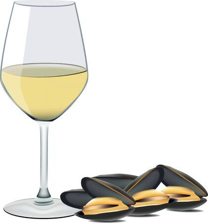 seafood mussels with a glass of white wine 版權商用圖片 - 88306561