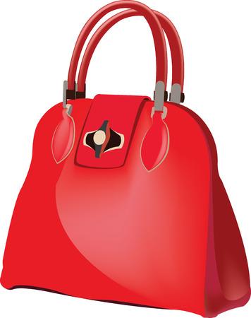 female red leather purse vector illustration. Illustration