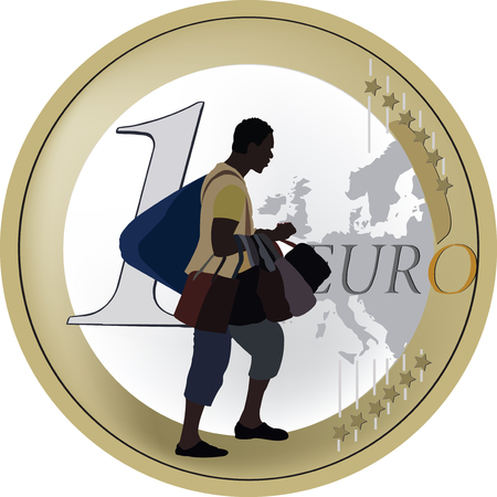 retailer of color trades in bags for one euro Illustration