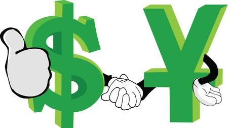 dollar and yuan shake hands economy Illustration