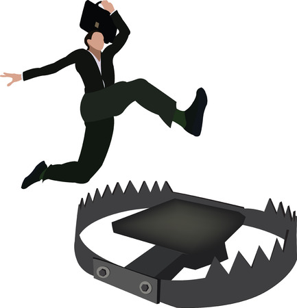 Person jumping iron vice trap, vector illustration.
