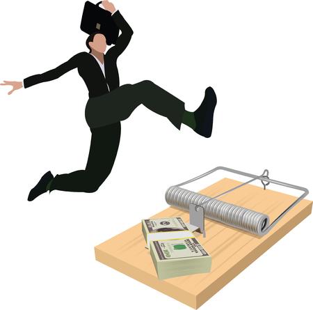 Person jumps trap of corruption, vector illustration.