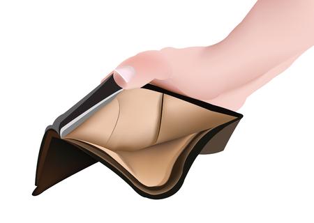 Hand with male leather wallet Ilustração