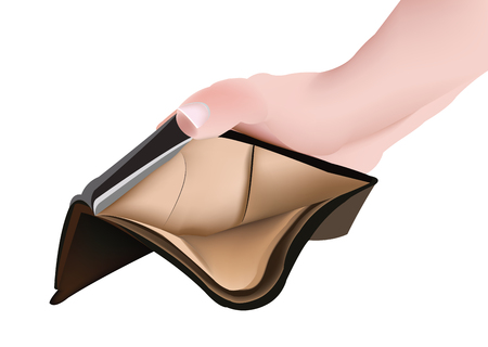 Hand with male leather wallet Vettoriali
