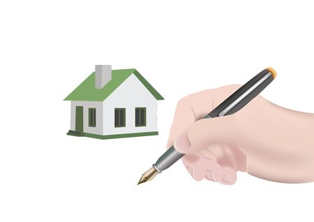 hand with fountain pen and background home dwelling