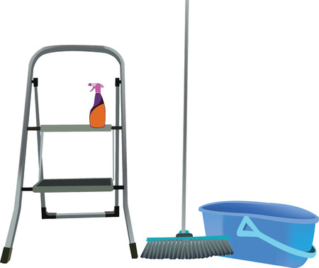 light ladder broom and cleaning tray