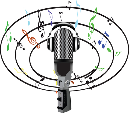 microphone and music notes all around 向量圖像