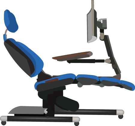 office chair with computer and keyboard Ilustração