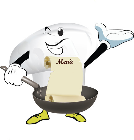 Cooks hat with pot in hand on white background, vector illustration.
