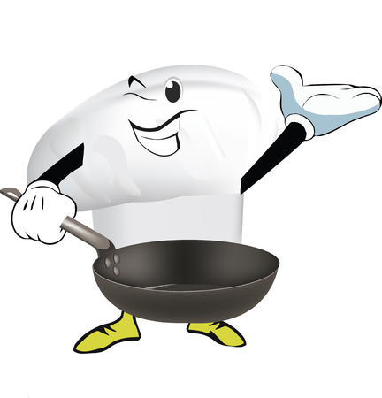 Cook's hat with pot in hand, vector illustration. Illustration