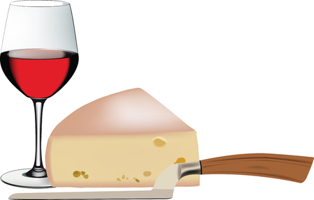 Glas wijn op witte achtergrond, vectorillustratie. Stock Illustratie