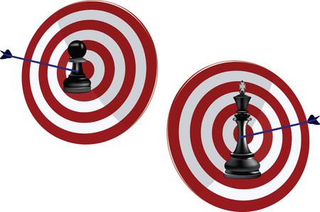 Sport archery target center on white background, vector illustration. Illustration