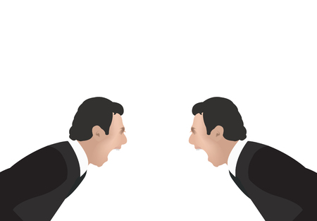 Agitated people screaming on white background, vector illustration.