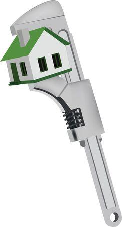 cogwheel key tightens a house Vector illustration.