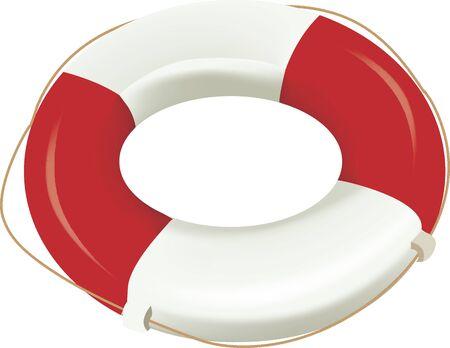 Een reddingsboei voor redding op volle zee Stock Illustratie