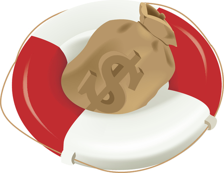 lifebuoy with rope and sack of dollars