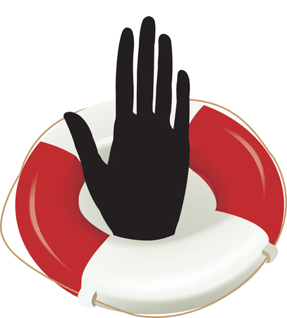 lifebuoy with raised hands immigration