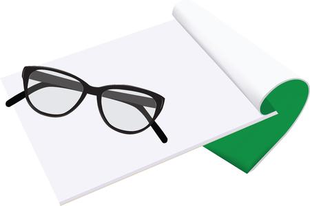 ベクトル図をメモ帳の上の眼鏡。