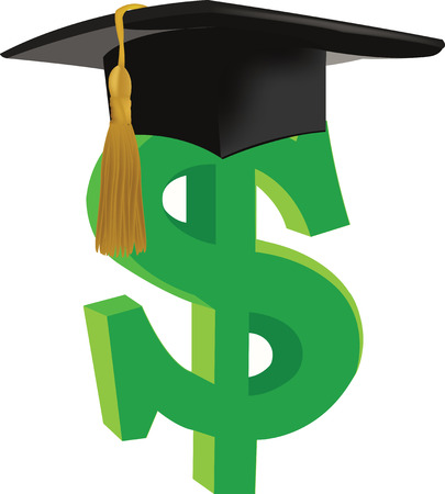 dollar symbol with doctoral high school hat