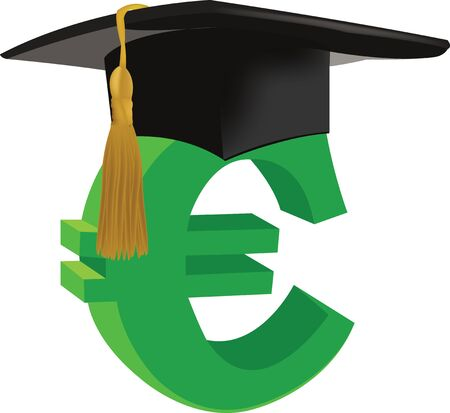 Euro symbol with doctoral hat