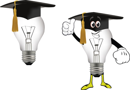 University hat and idea light bulbs. Illustration