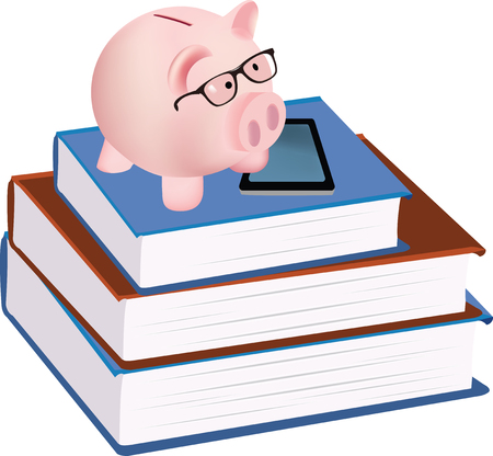 Piggy bank form piggy above some books illustration.